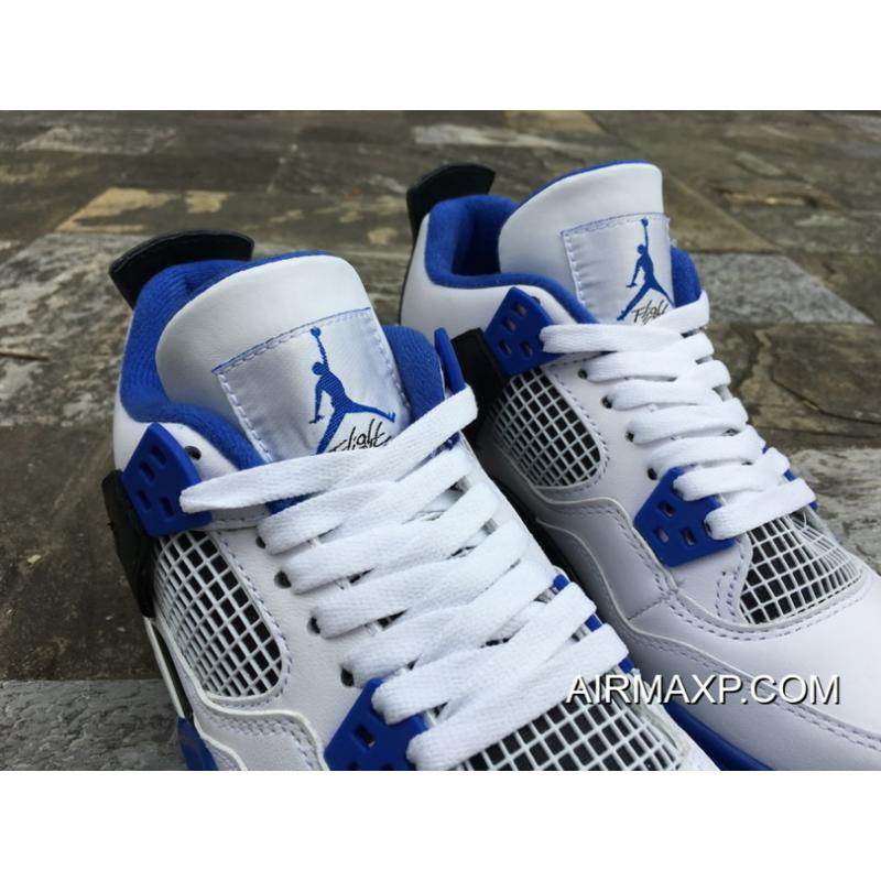 419d3f9634434e ... Women Men Air Jordan 4 Motorsport White Game Royal-Black New Release ...