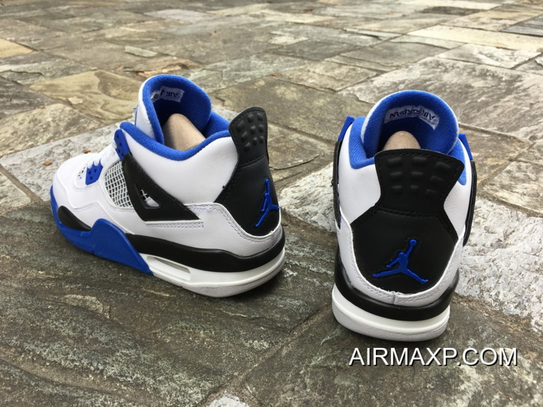 ac2481f889c0b6 Women Men Air Jordan 4 Motorsport White Game Royal-Black New Release ...