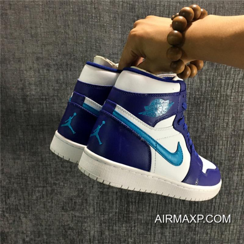 sale retailer bfd47 aead1 ... Air Jordan 1 High  Hornets  Bright Concord And Blue Lagoon-White Free  Shipping ...