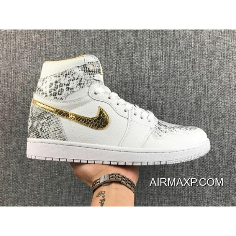 60f18e04387 New Release DJ Khaled X Air Jordan 1 Custom White Python   Gold ...
