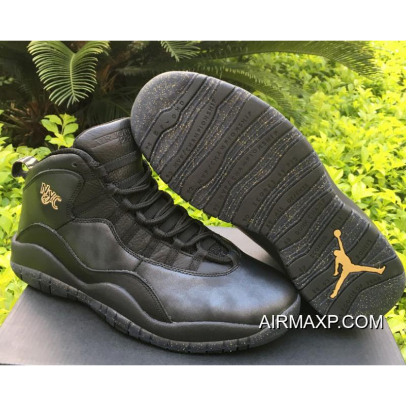 f1c488bf9875 Outlet Air Jordan 10  NYC  Black And Black-Dark Grey-Metallic Gold ...