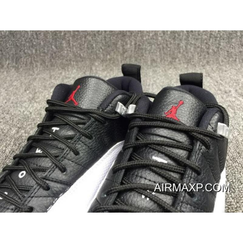 b9072f3fef89 Online Air Jordan 12 Low  Playoffs  Black And Varsity Red-White ...