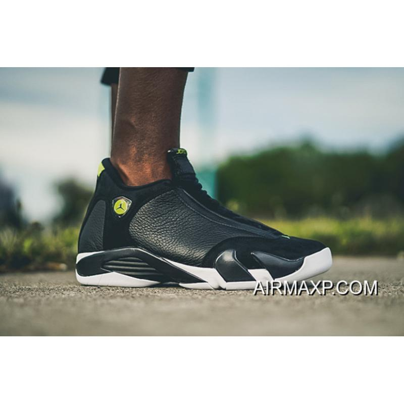 0f4b1e802c3 Top Deals Air Jordan 14 'Indiglo' Black And White-Vivid Green, Price ...