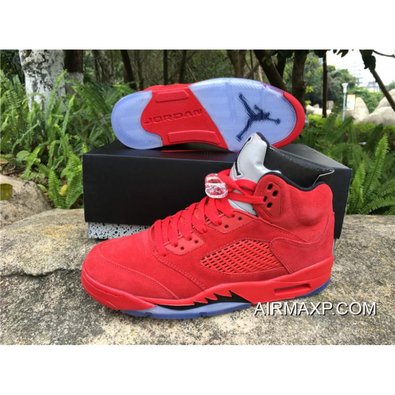 hot sale online f9a98 fa3b4 New Release New Air Jordan 5 'Red Suede' University Red/Black-University Red