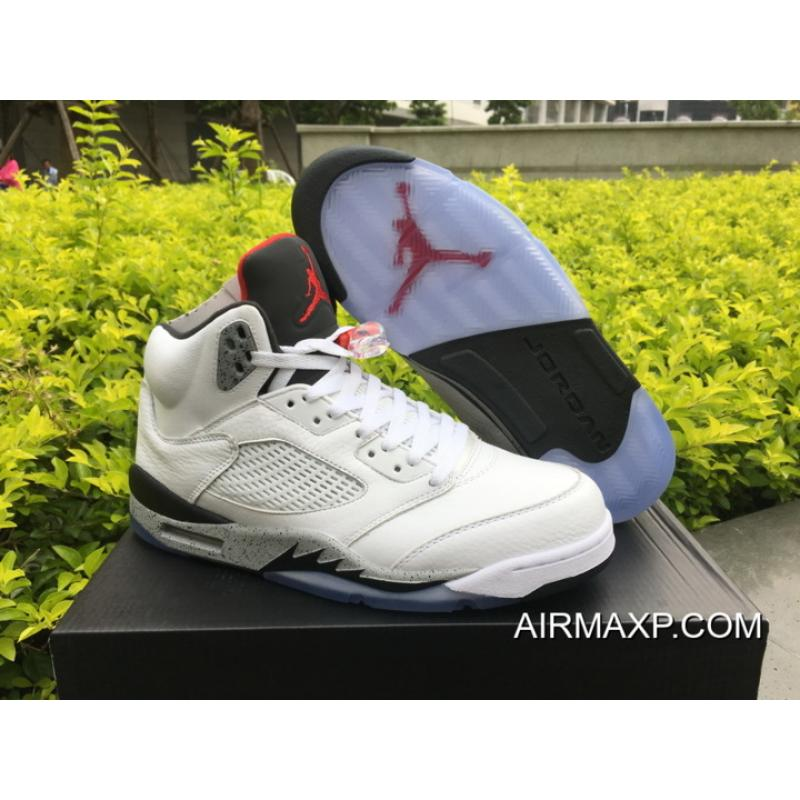 bdb860a3d6af4e Women Men Air Jordan 5  White Cement  White University Red-Black ...