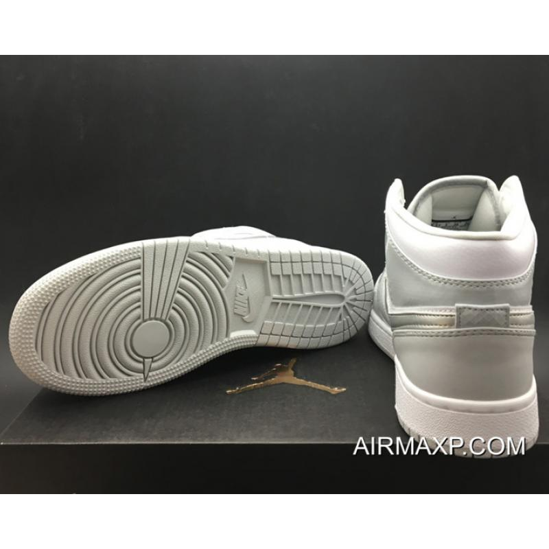 b33c8425dc4a ... Women Air Jordan 1 Mid Grey Fog Deadly Pink Silver White Tax Free ...