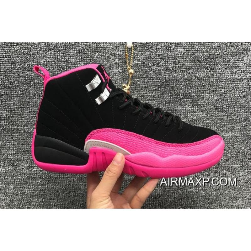 ab21cd660be9fe Women Air Jordan 12 GS Black And Deadly Pink-Metallic Silver New Release ...