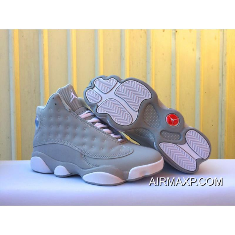 buy popular 04224 004f1 Women/Men Latest Air Jordan 13 Wolf Grey And White-Deadly Pink