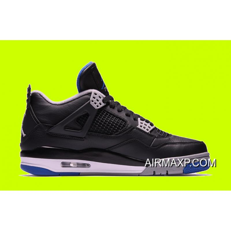 da34a656b710 Women Men Air Jordan 4 Black And Game Royal-Matte Silver-White Outlet ...