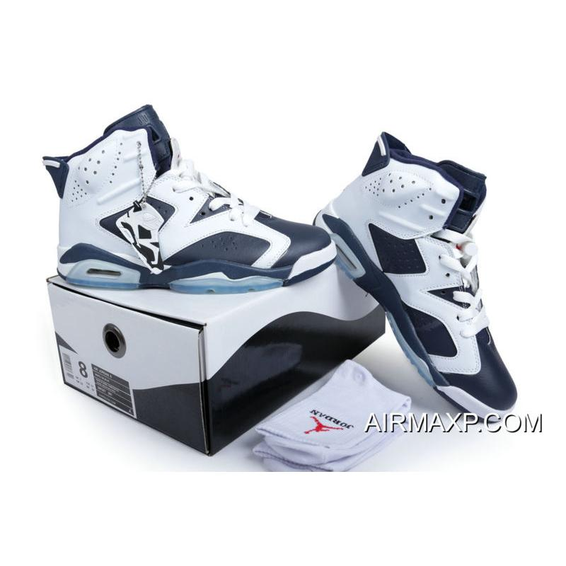 "64c492aa65b ... Women/Men Air Jordan 6 Retro ""Olympic"" White And Midnight Navy-Varsity  ..."
