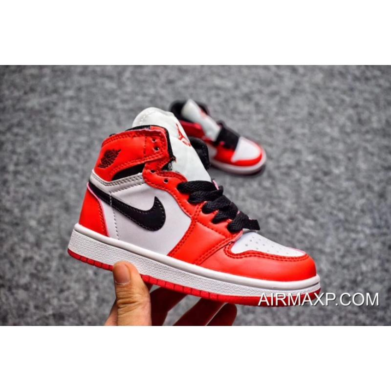 142f1380319 Air Jordan 1 Retro 'Chicago' White/Black-Varsity Red For Kids Top ...