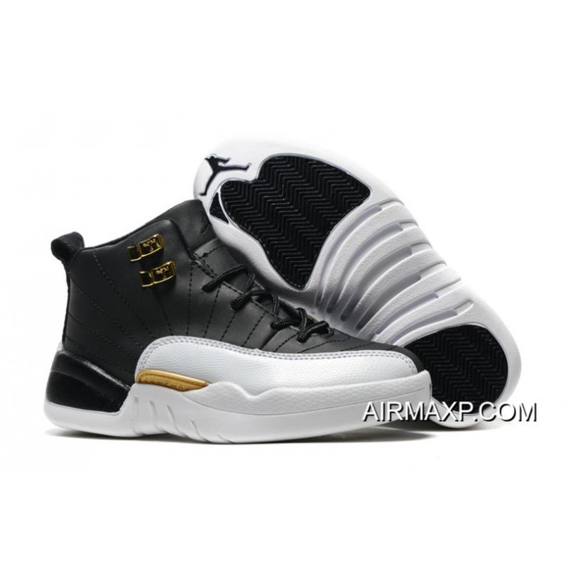 5ea3b5542a91 Air Jordan 12  Wings  Black Metallic Gold-White For Kids Best ...