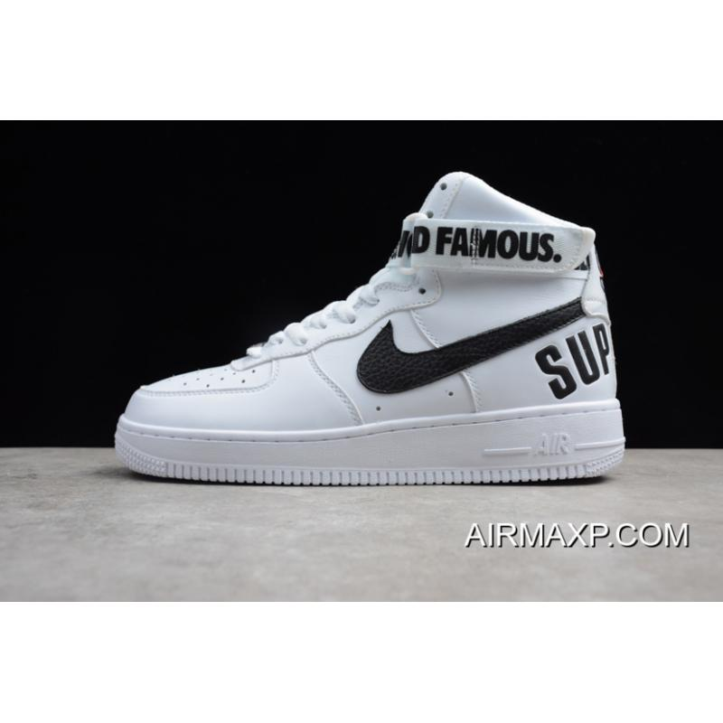 27e3dd254065 Women Men Supreme X Nike Air Force 1 High White Black New Style ...