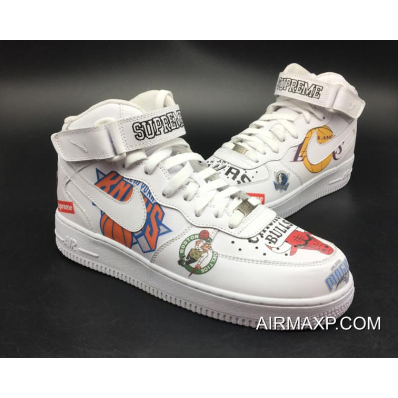 check out 49dd4 dd9be ... Women Men Online Supreme X Nike Air Force 1 Mid NBA Team Logos