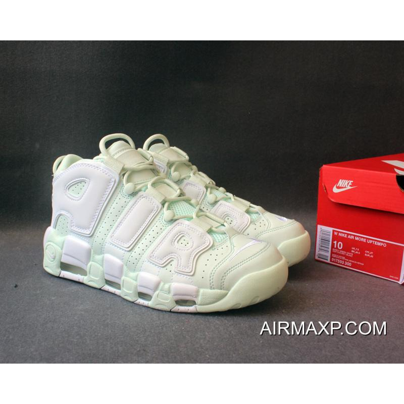 Women Men Nike Air More Uptempo Barely Green And White Latest ... 43115606e