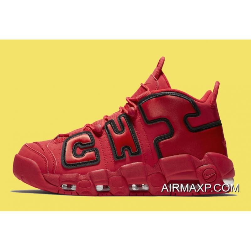 Women Men Authentic Nike Air More Uptempo QS  Chicago  Black University Red  ... 0f7750a04