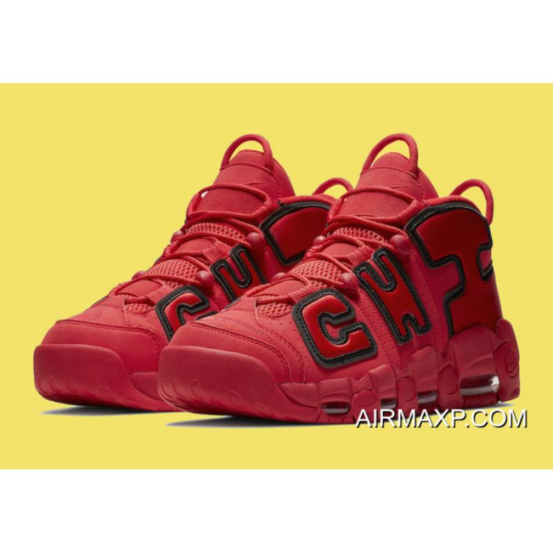 ... Women Men Authentic Nike Air More Uptempo QS  Chicago  Black University  Red ... e924ac269