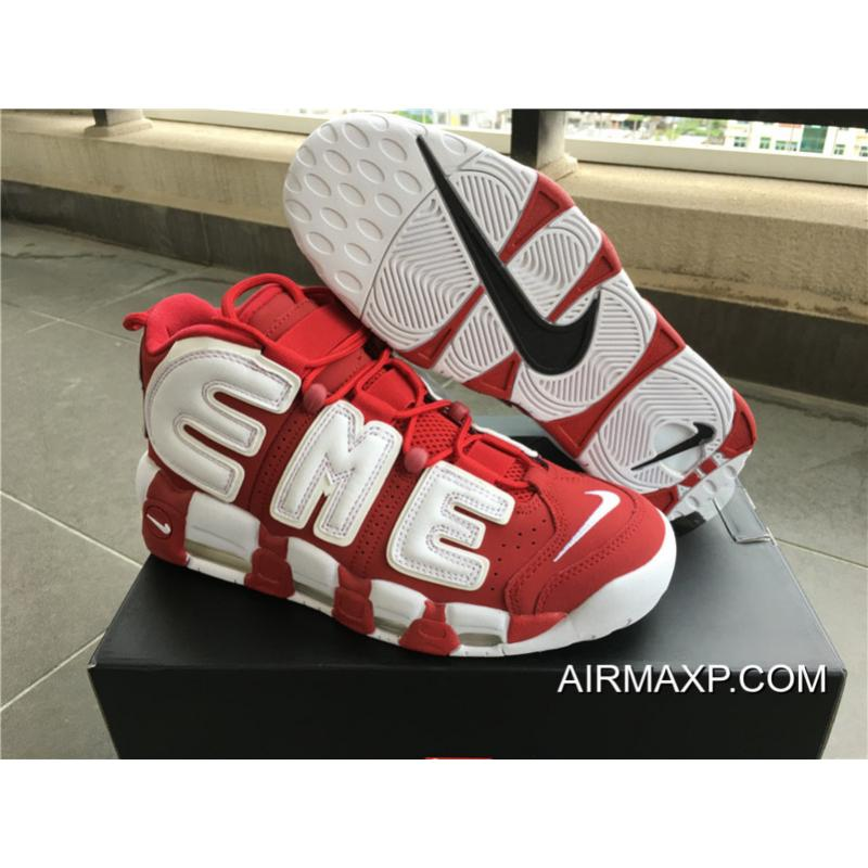 Latest Supreme X Nike Air More Uptempo Varsity Red White ... 532f6a495