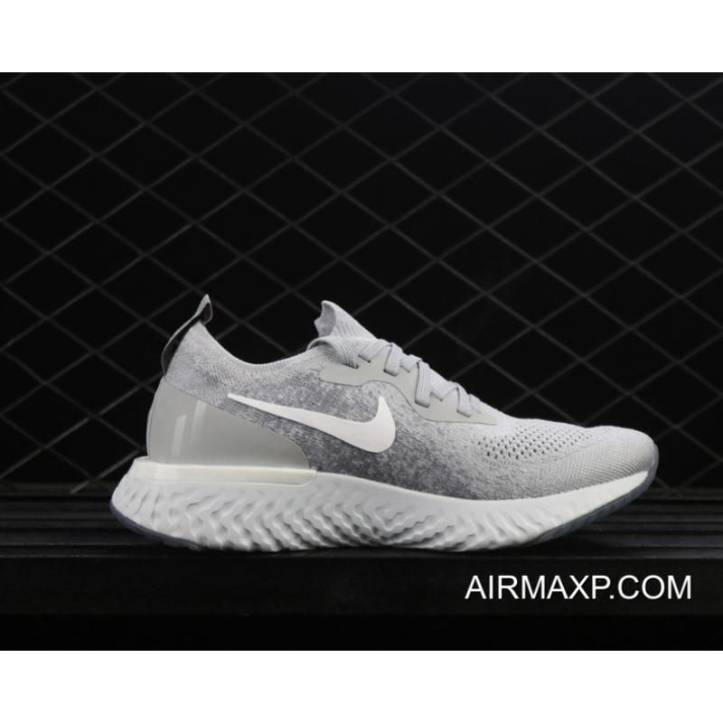 8cedb10de7a57 Women Men Discount Nike Epic React Flyknit Running Shoes Wolf Grey Cool  Grey  ...