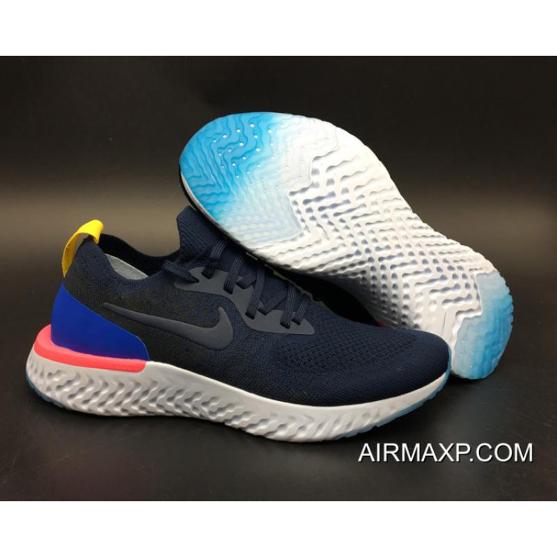 9498b9a6b3f Women Men For Sale Nike Epic React Flyknit Running Shoes College Navy Racer  Blue ...