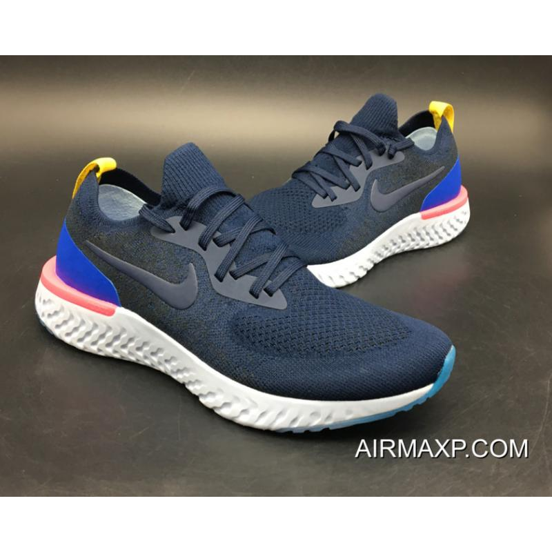 636a8b1fb54 ... Women Men For Sale Nike Epic React Flyknit Running Shoes College Navy Racer  Blue ...