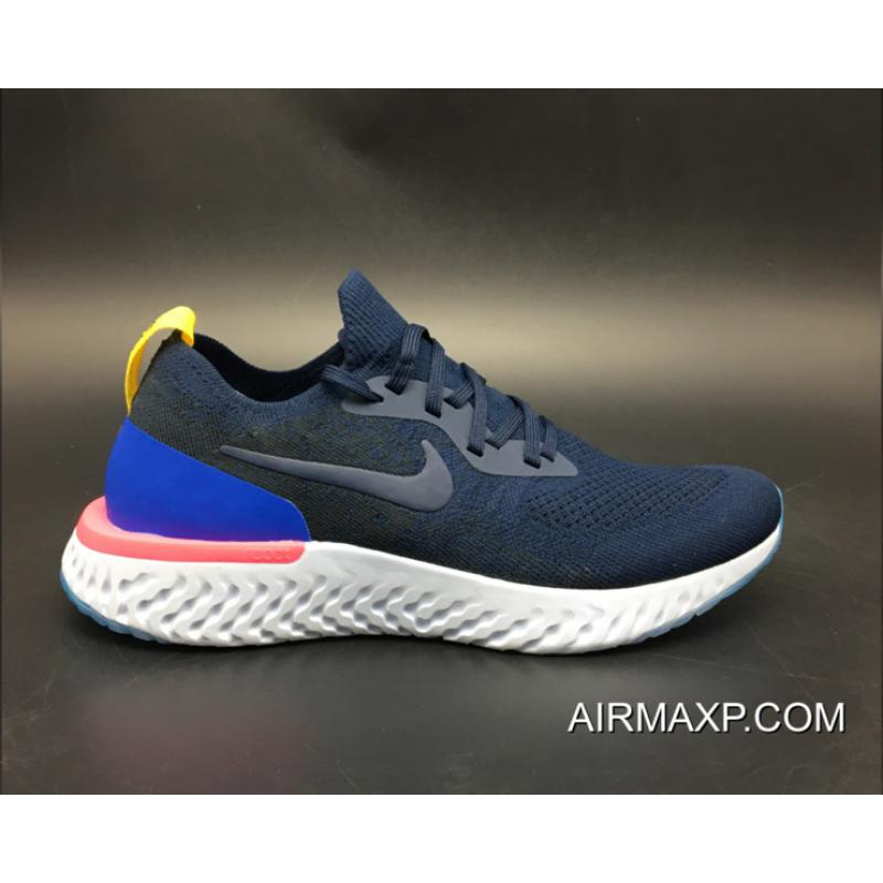 b33e360cb590 ... Women Men For Sale Nike Epic React Flyknit Running Shoes College Navy Racer  Blue