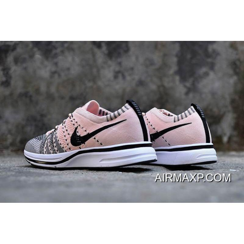 best service 8bf46 0b62a ... Women Men Latest Nike Flyknit Trainer Sunset Tint And Black-White ...