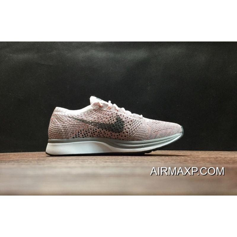56acc9676cec ... Women Men Authentic Nike Flyknit Racer  Strawberry  Pearl Pink And Cool  Grey ...