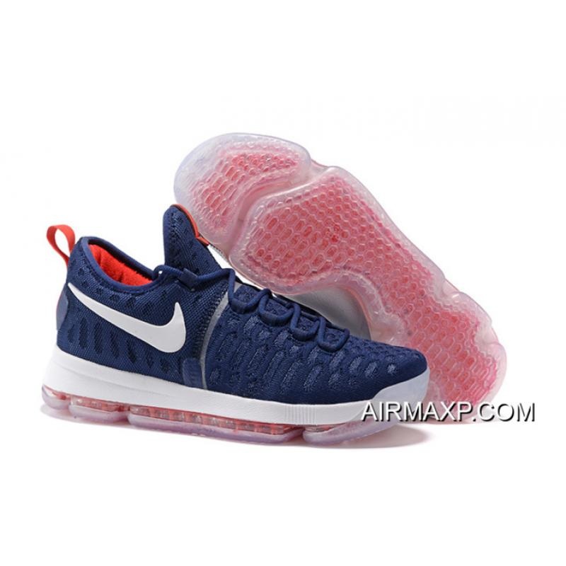 3ff58c8e5610 Nike KD 9 PE Olympic USA Vs Nigeria Navy Blue And White-Red Best ...