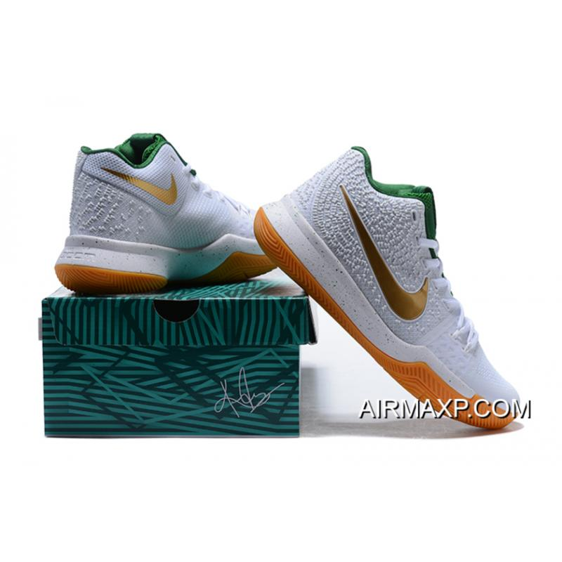 aaa7ac55bc91 ... New Year Deals Nike Kyrie 3 White And Metallic Gold-Green ...