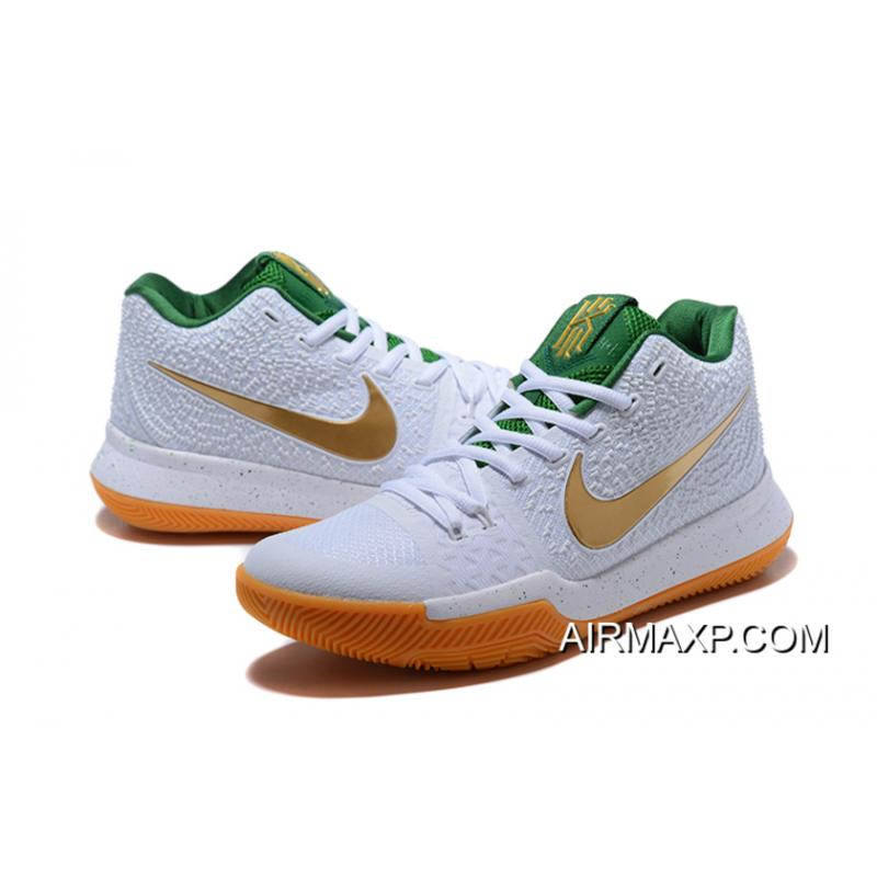 8c8058e06822 ... New Year Deals Nike Kyrie 3 White And Metallic Gold-Green