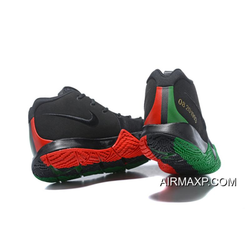 """599997dfdcde ... Latest Nike Kyrie 4 """"BHM"""" Black Green Red Metallic Gold ..."""