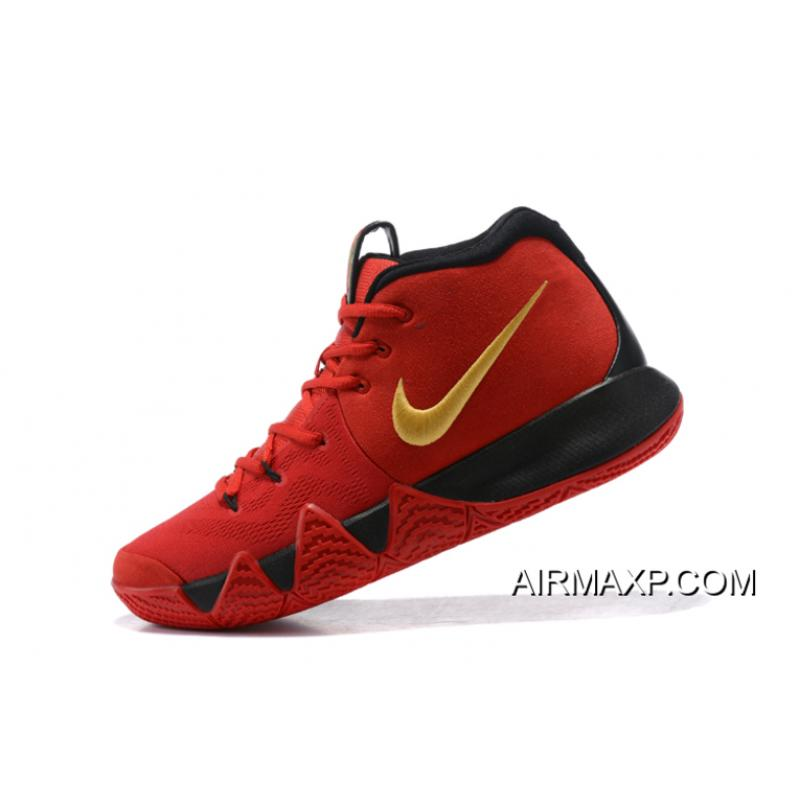 00c0d348bf03 ... Discount Nike Kyrie 4 Red Black-Gold ...