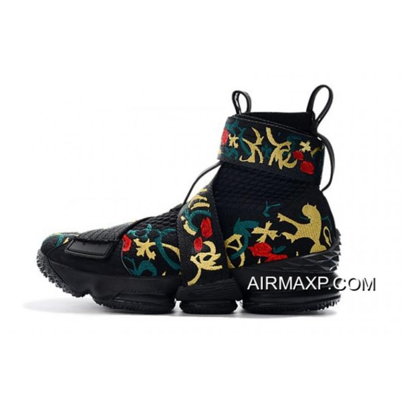 "92cc35f678d KITH X Nike LeBron 15 Lifestyle ""King s Crown"" Black Gold Floral Men s  Basketball ..."
