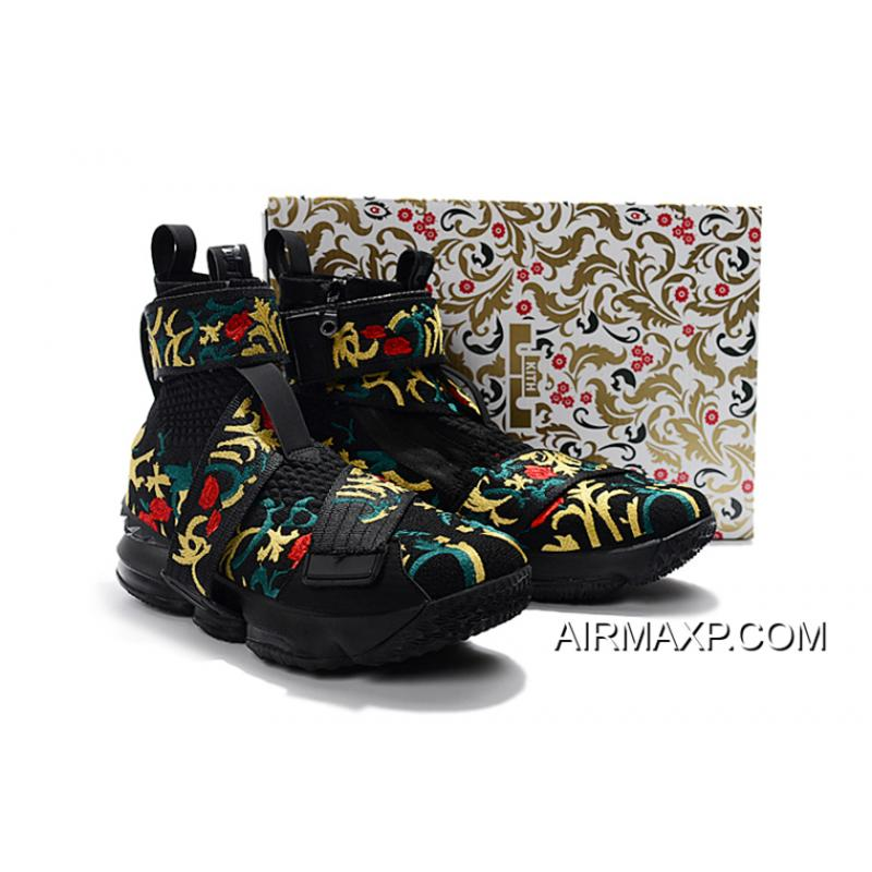 "64ea49c648d7 ... KITH X Nike LeBron 15 Lifestyle ""King's Crown"" Black/Gold Floral Men's  Basketball ..."