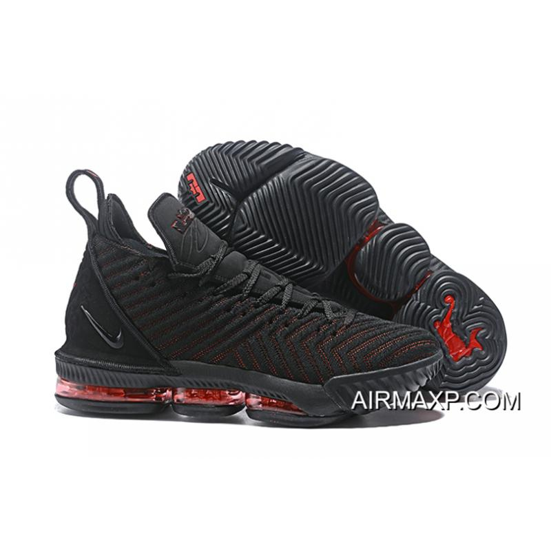 "a1dff81e431 Women Men Latest Nike LeBron 16 ""Fresh Bred"" Black University Red ..."