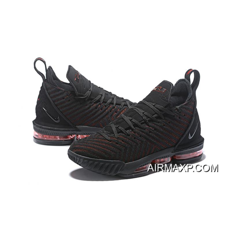 "a528be37058d Women Men Latest Nike LeBron 16 ""Fresh Bred"" Black University Red ..."