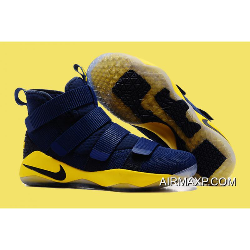 on sale e0a9e 29453 Nike LeBron Soldier 11 Deep Blue And Yellow Latest ...
