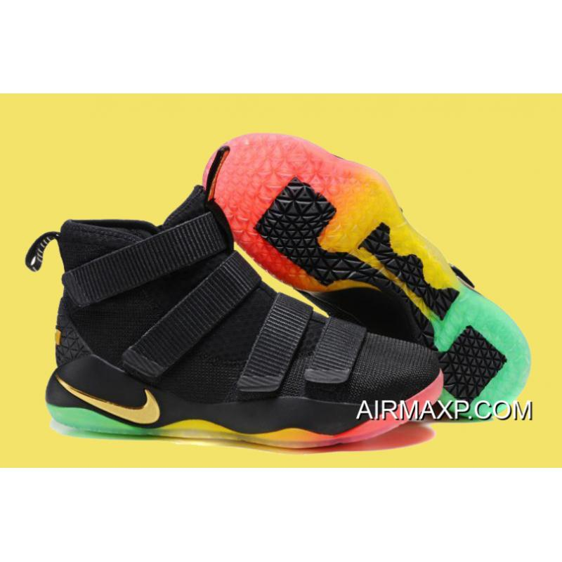 detailed look 5c84f 2db3e Nike LeBron Soldier 11 Black/Gold Multi-Color Sale Authentic
