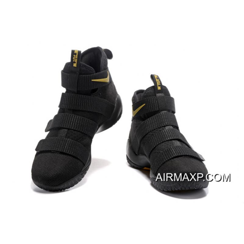 buy popular 9f867 f0740 Nike LeBron Soldier 11 Black And Gold Outlet
