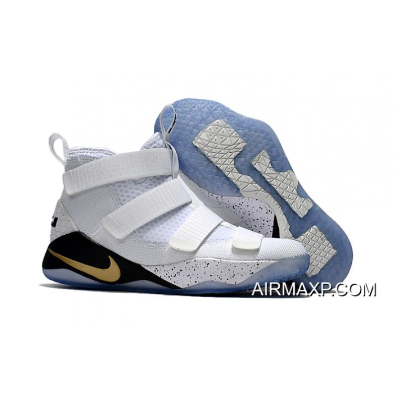 d7d59eac45fd Where To Buy Nike LeBron Soldier 11  Court General  White And Metallic  Gold- ...