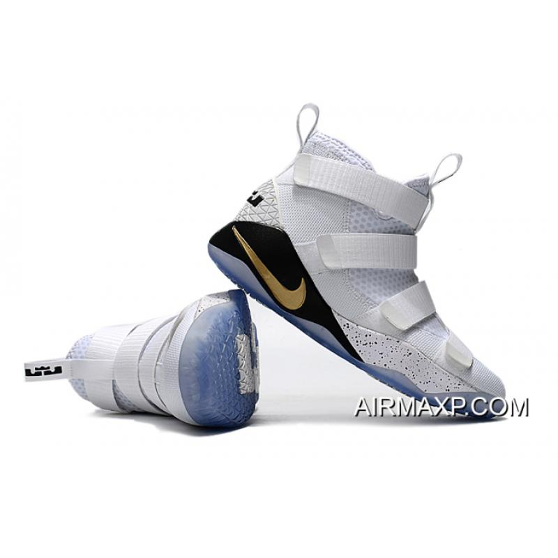 d691ee428f1 ... Where To Buy Nike LeBron Soldier 11  Court General  White And Metallic  Gold- ...