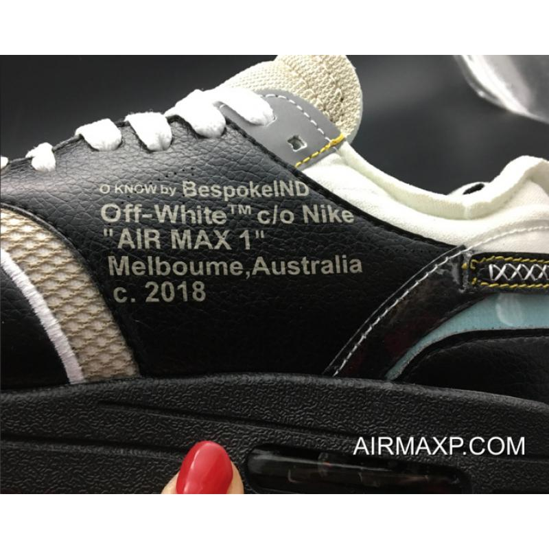 f965df230e79 ... Virgil Abloh X BespokeIND X Off-White X Nike Air Max 1s Black Leather  Authentic ...