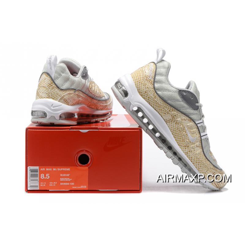 "release date 188ae afd2d ... Supreme X Nike Air Max 98 ""Snakeskin"" Sail And Metallic Silver-Varsity  Red"