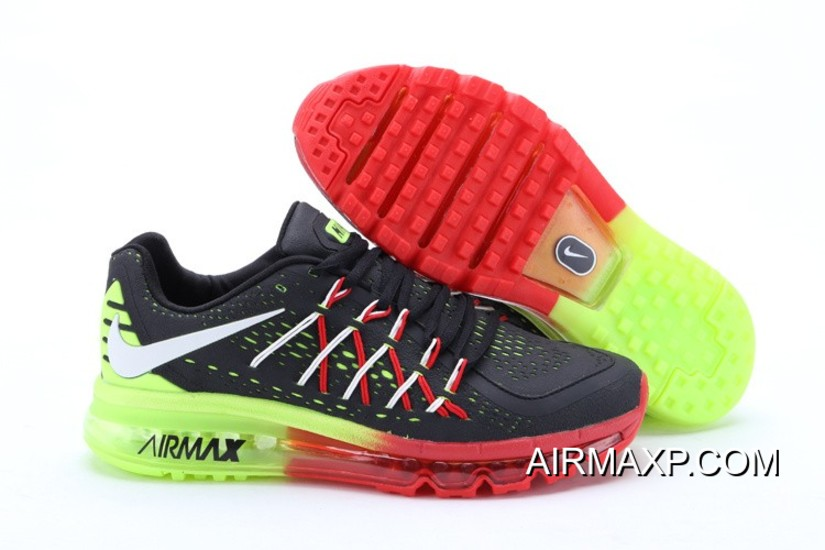 competitive price ac9a4 0ddd3 Nike Air Max 2015 Men Black Red Fluorescence Green Running Shoes New Year  Deals