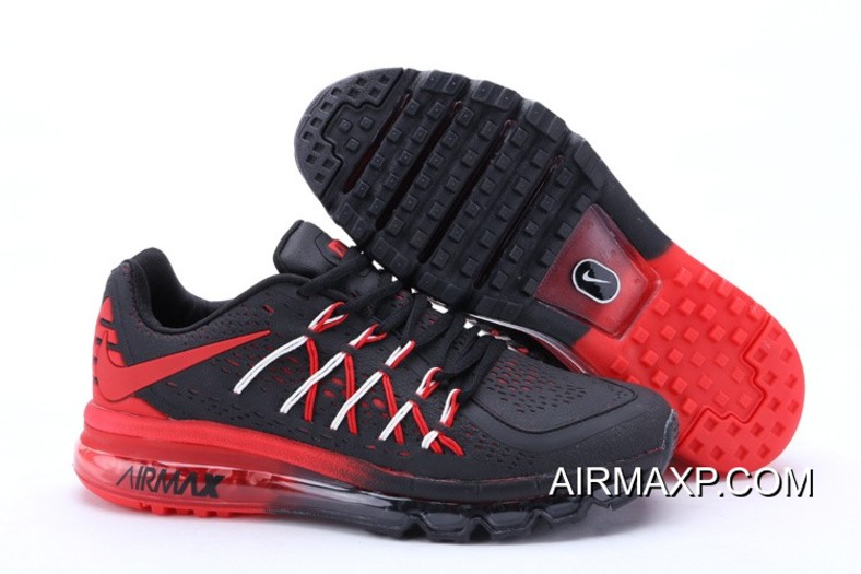 buy popular 47f8d 3e2dc Nike Air Max 2015 Men Black Red Running Shoes Discount