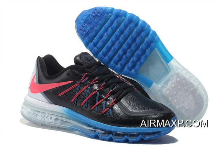 Women Nike Air Maxs 2015 Leather Red Black Blue Grey New Year Deals