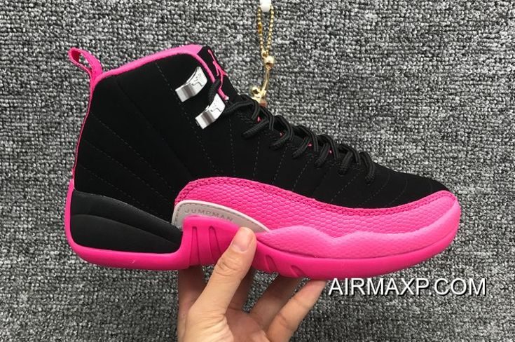 3f499a501080 Women Air Jordan 12 GS Black And Deadly Pink-Metallic Silver New Release