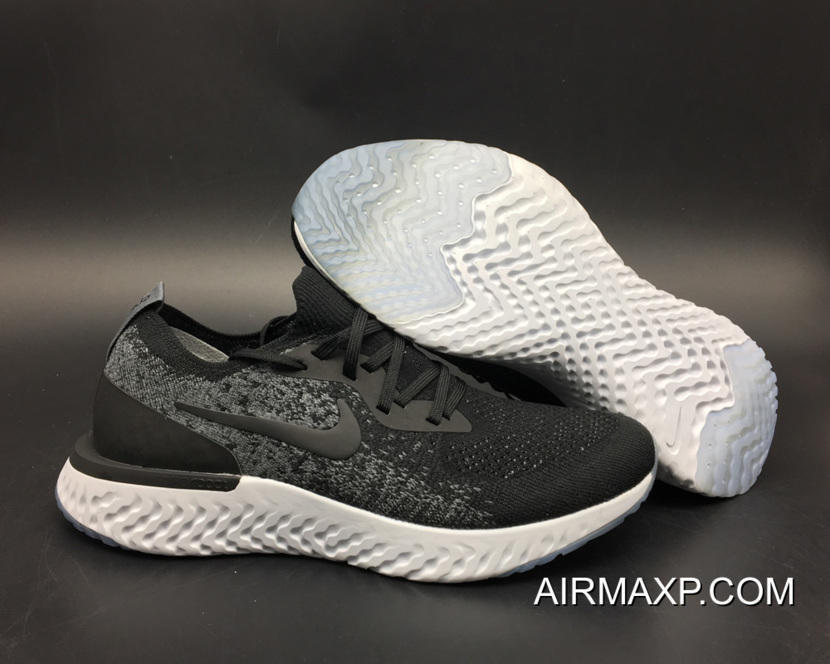 a2f32be6a896 Women Men Outlet Nike Epic React Flyknit Running Shoes Black Dark Grey Wolf