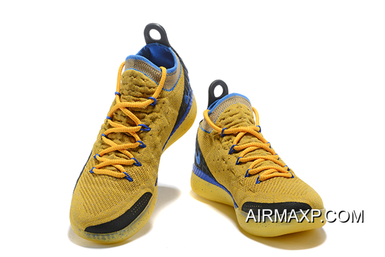 KD 11 Yellow Discount Kevin Durant's Nike KD 11 Yellow/Black-Blue Shoes Free ...
